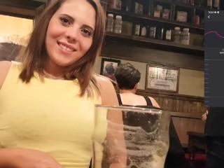 Public orgasm with lovense lush inside harry potter's restaurant