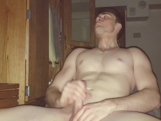 Buff Teen In College Watches Porn While Roomate Is Gone!