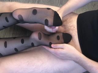 sexy girl footjob after job with black nylon stockings cum on nylon
