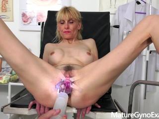Gyno exam of slender mature woman Valeria - Mature Gyno Exam