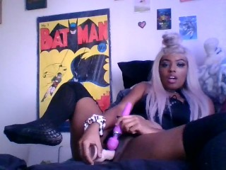 Horny Ebony Playing with her Toys: vibrator creates Creamy exlposion