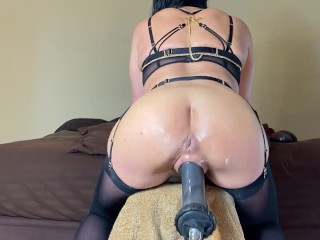 Love how my pussy grips this huge cock! MILF Riding Huge Dildo Fuck Machine