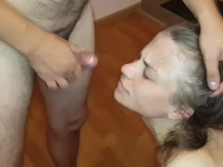 My wife took huge cumshot from my friend, collect all from face to eat it