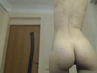 MILF striptease after with splashing milkshake from boobs