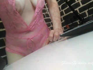 big nipples and hanging tits, hairy legs, footfetish, lacy lingerie from GinnaGg