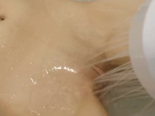 pretty girl getting her clit sprayed in the shower   loud moaning orgasm