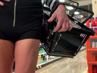 Slutty TS sissy CD fucks her pussy with a cucumber in Kroger