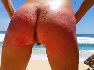 ENJOY Painting my Nake Body with DRAGON Fruit # Fun on Paradise Beach