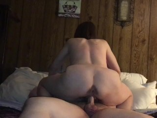 Mature cougar wife riding and cuming on younger man and determined to squat fuck the cum out of him