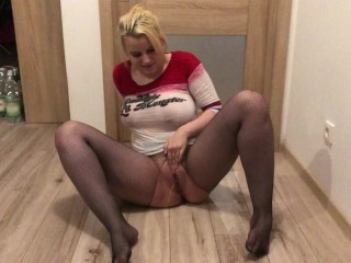 I piss into pussy and mouth of hot blonde, then she pisses on the floor and plays in the yellow pool