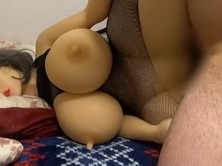 日本人の素人自撮り撮影オナニー 巨乳なラブドールに中出し射精する