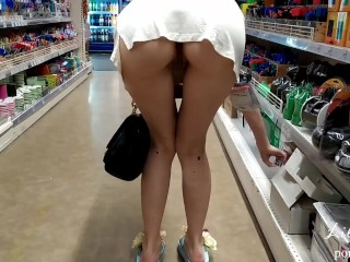 I walk in the mall only in a T-shirt. Risky flashing, no panties.