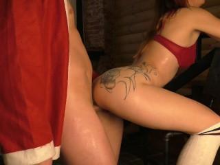 Ho ho ho !!! Bad Santa fucked a girl for a gift for the New Year