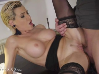 MOMxxx Stockings clad Russian MILF Subil Arch hot sex and romantic creampie