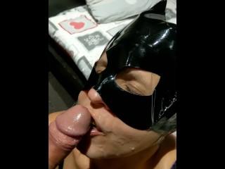 Catwoman drinks her favorite milk