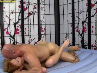 Sexy Red Head Gives XXX Erotic Body Slide Oil Massage - Alex Tanner