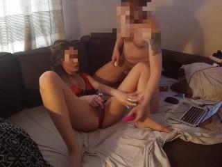 Элитная проститутка играет с киской и делает глубокий минет в секси боди №2