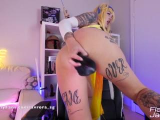 Rikku Masturbate Pussy Dildo and Creamy Orgasm Cosplay